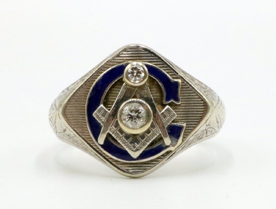 14Kt WG Diamond & Enamel Masonic Ring