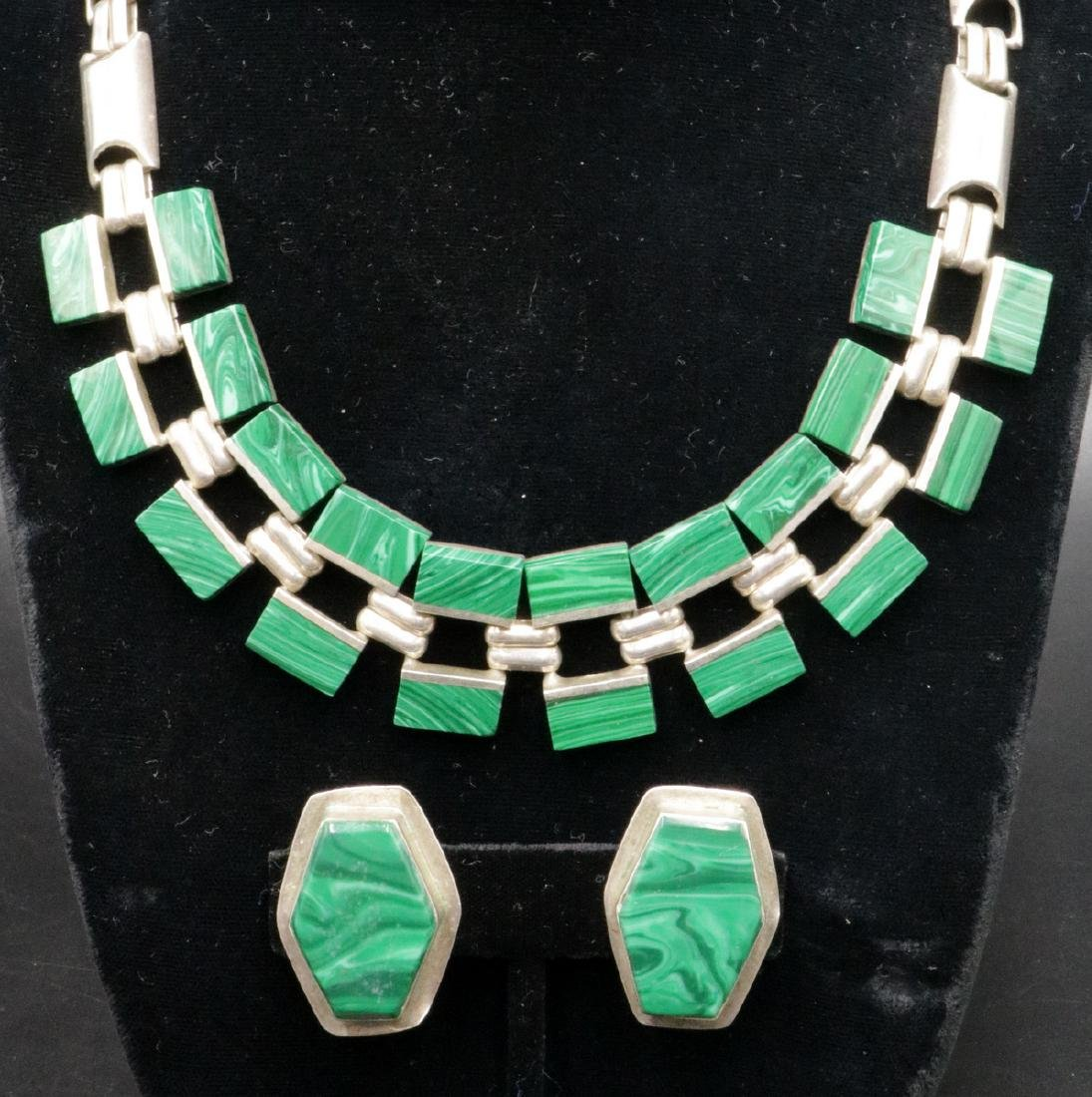Taxco Mexico Sterling & Malachite Suite