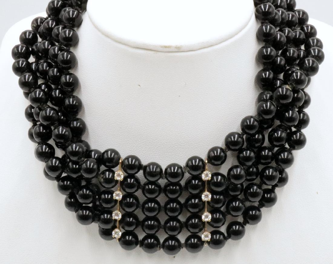 Beautiful 14Kt YG 5-Strand Onyx Beaded Choker