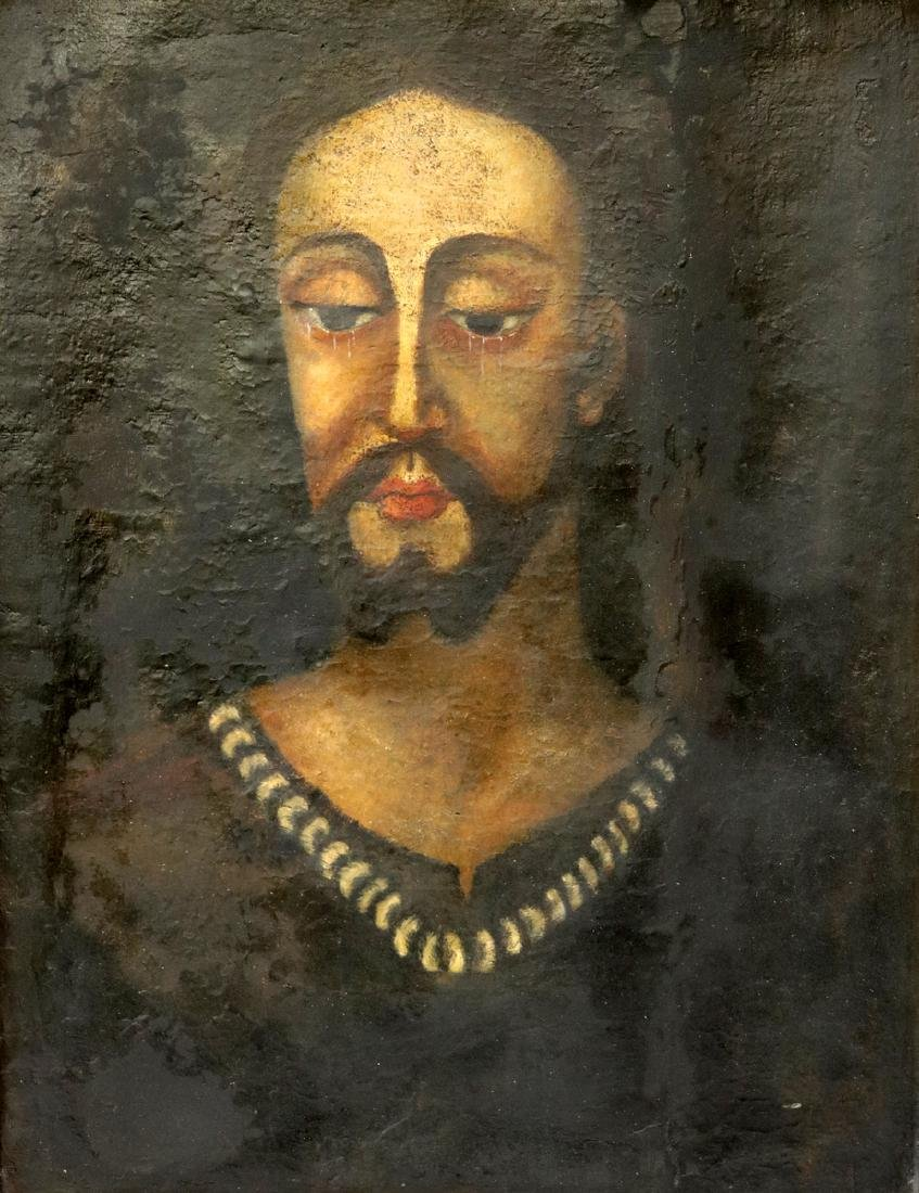 Late 18th C. Unsigned Jesus Oil Painting on Canvas