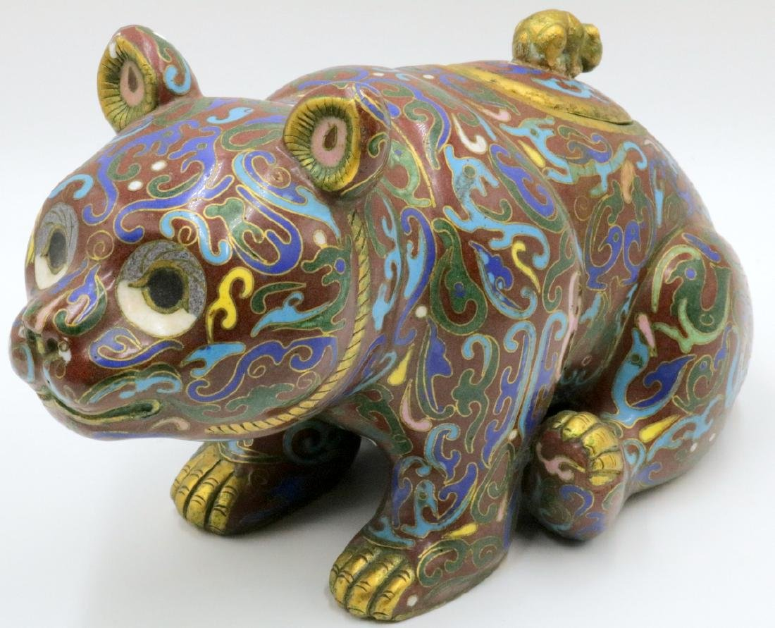 Early 20th C. Chinese Cloisonne Enamel Panda Jar