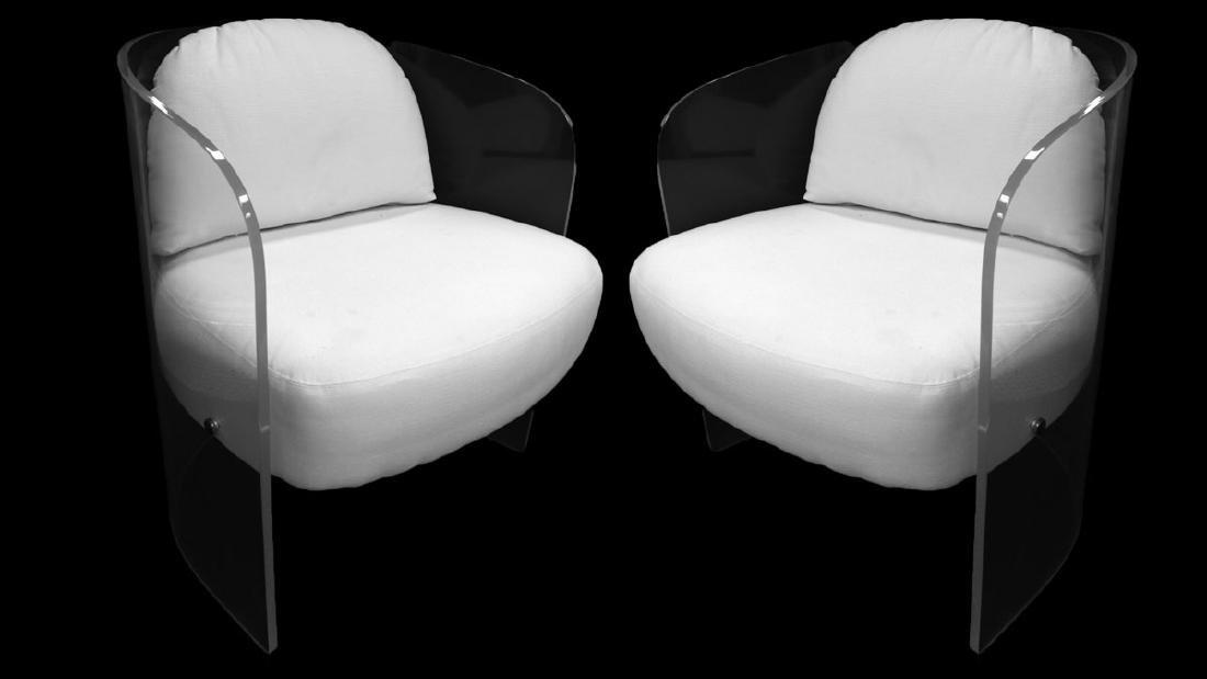 Attr. to Vladimir Kagan White Upholstered & Lucite