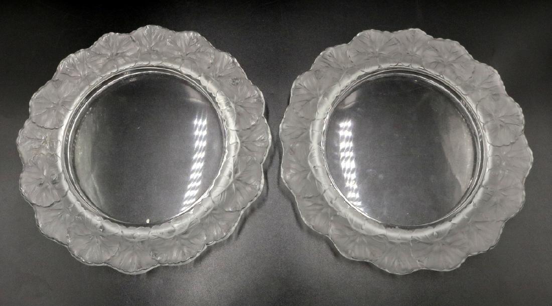 """Lalique """"Honfleur"""" Crystal Plates"""