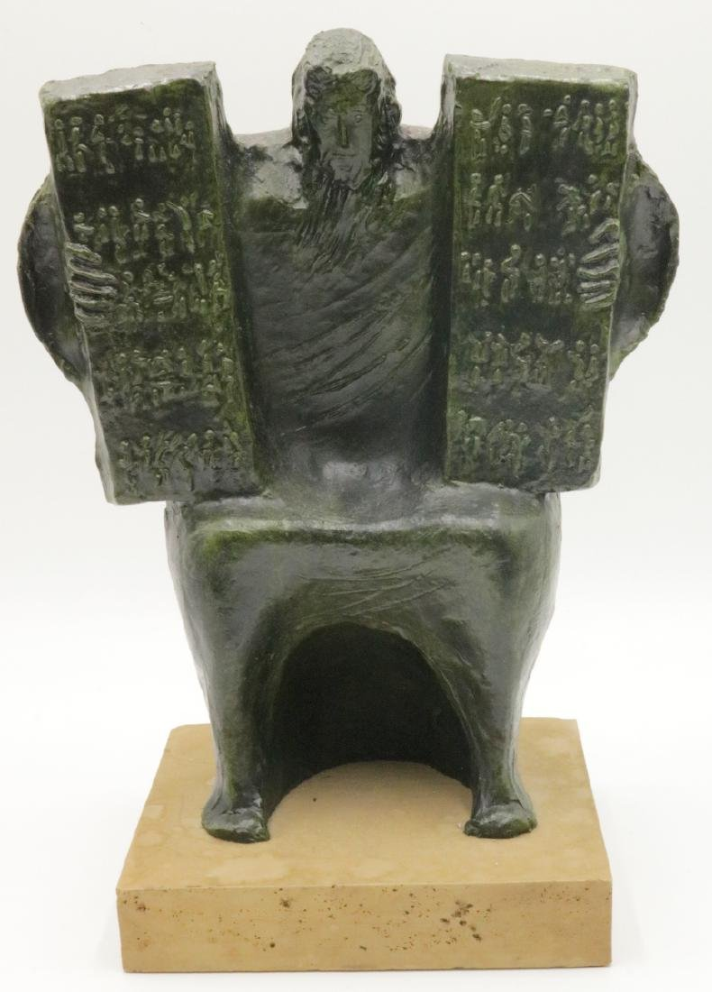 Signed Macri Bronze Religious Seated Man