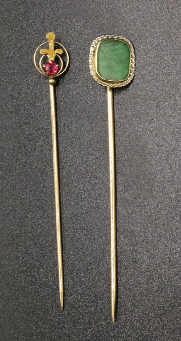Two 10 & 14Kt YG Emerald & Ruby Stick Pins