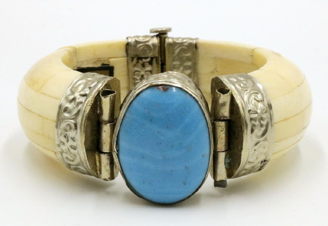 Indian Silver, Semi-Precious Stone & Bone Bangle