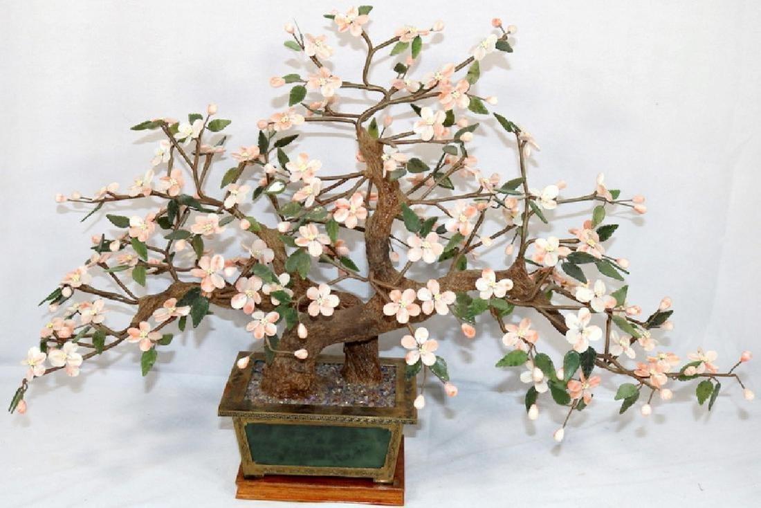Rare Chinese Angel Skin Coral & Jade Bonsai Tree