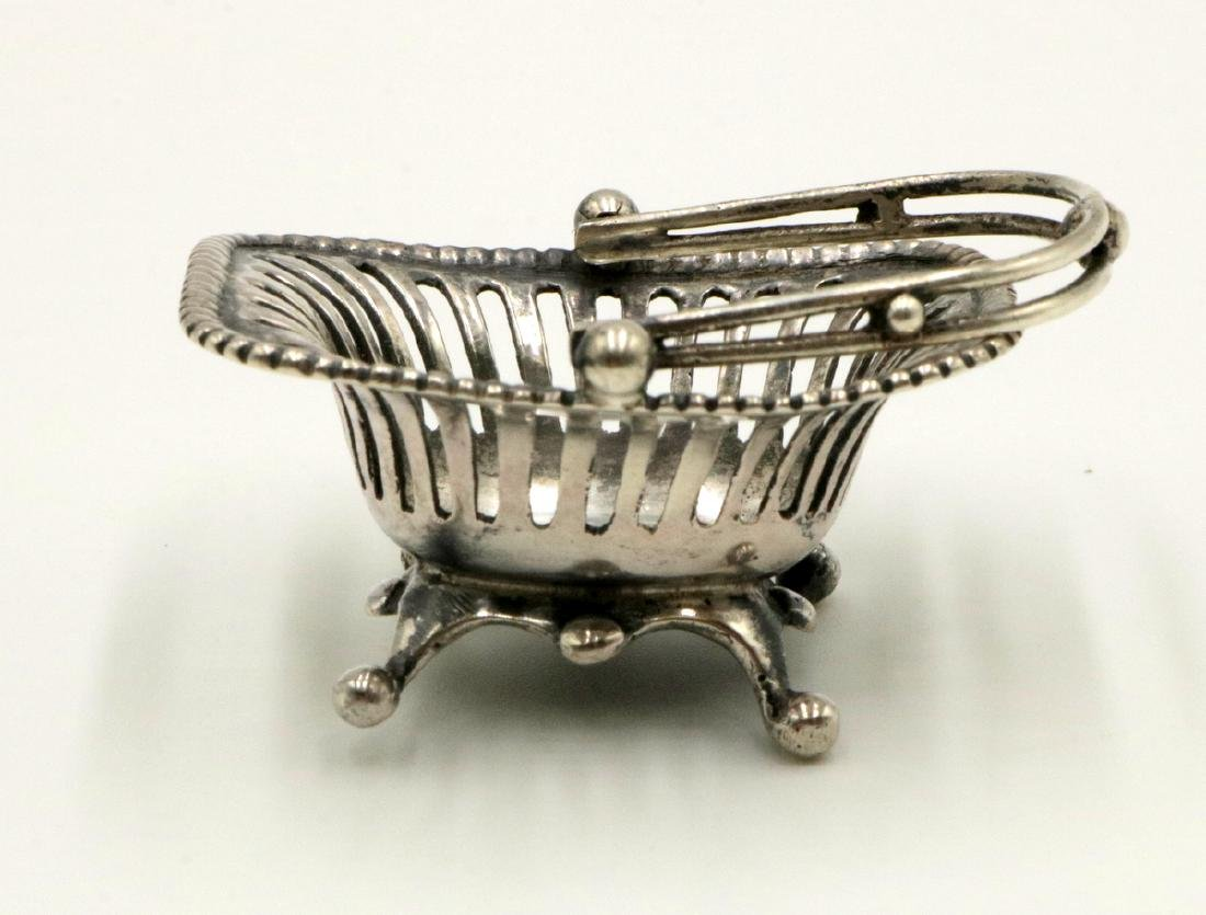 Miniature Sterling Hand Made Footed Basket