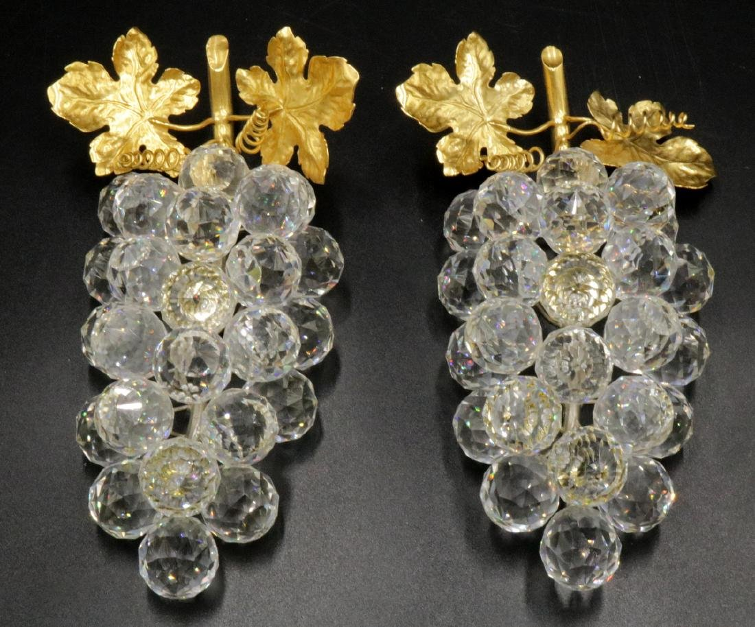 Pair of Swarovski Crystal & Gold Tone Grapes
