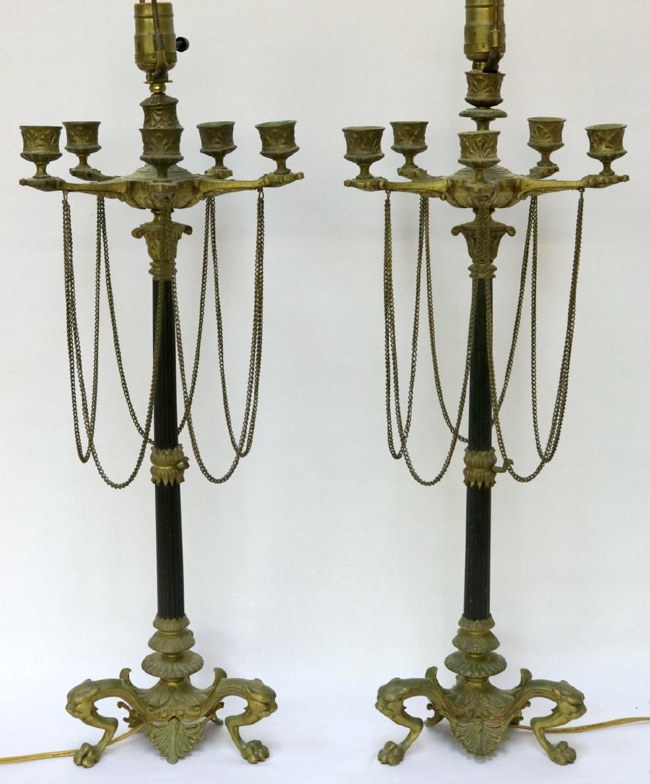 Antique French Empire Bronze Candelabras