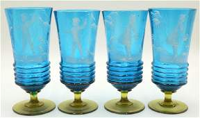 4 Pc. Antique Victorian Mary Gregory Enameled Glasses