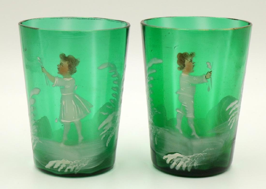 Pair of Antique Victorian Mary Gregory Enameled Glasses