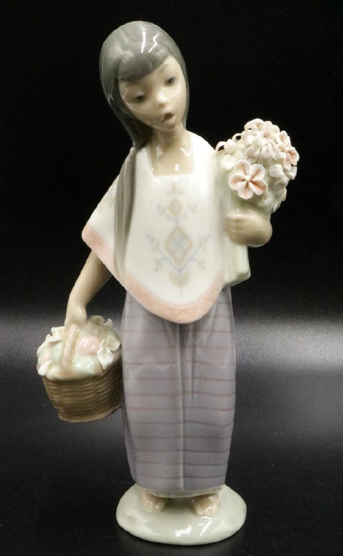 Lladro Porcelain Girl with Basket