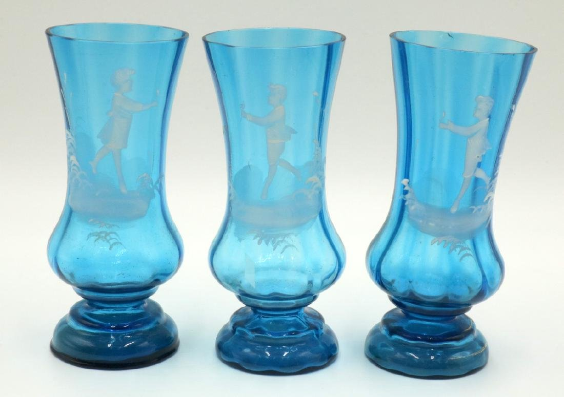 3 Pc. Antique Victorian Mary Gregory Enameled Vases