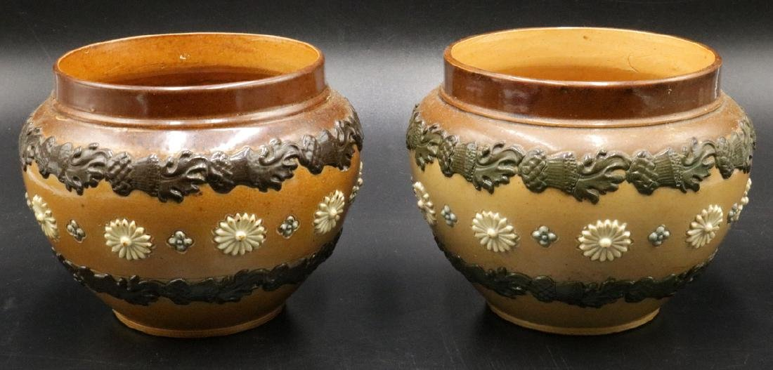 Pair of Royal Doulton Lambeth Pottery Vases