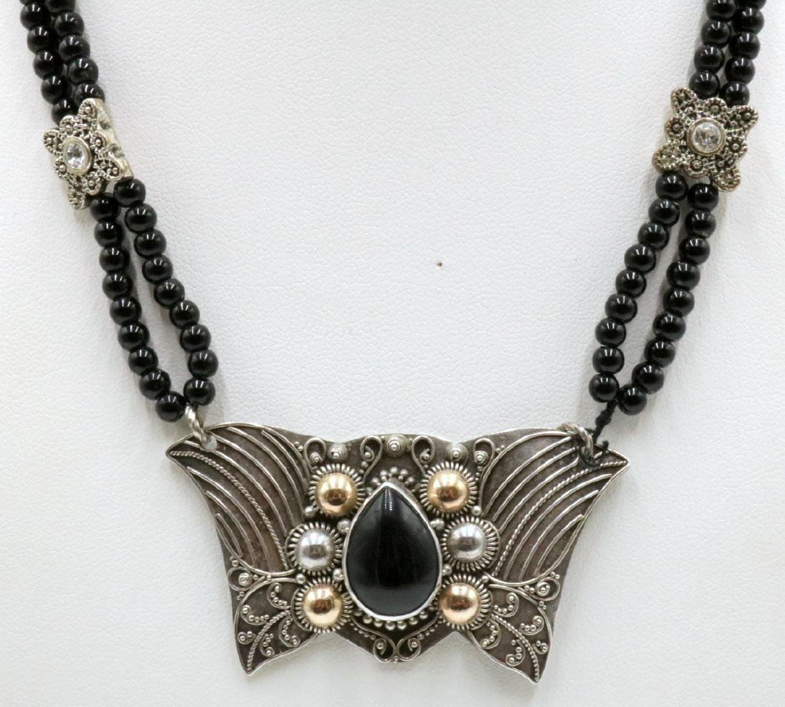 Sterling & Onyx Beaded Necklace