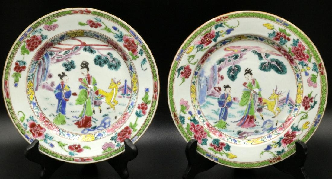 Antique Chinese Hand Painted Porcelain Plates