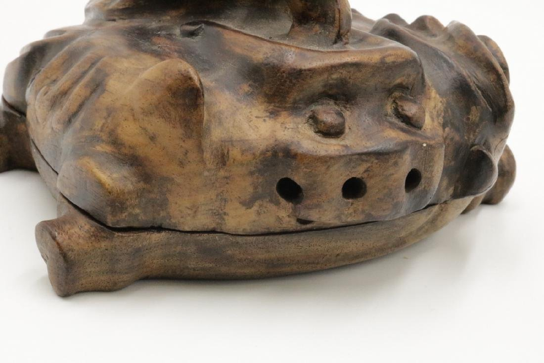 Chinese Carved Frog Wooden Box - 2