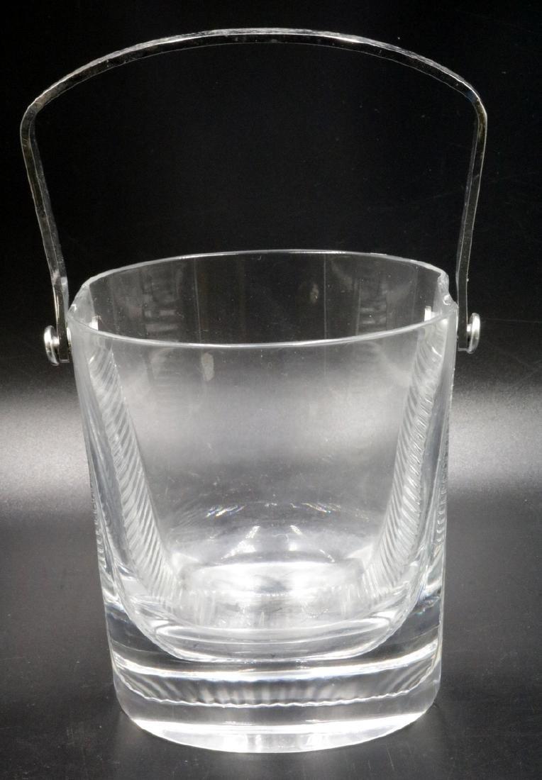 French Art Deco Glass & Chrome Ice Bucket