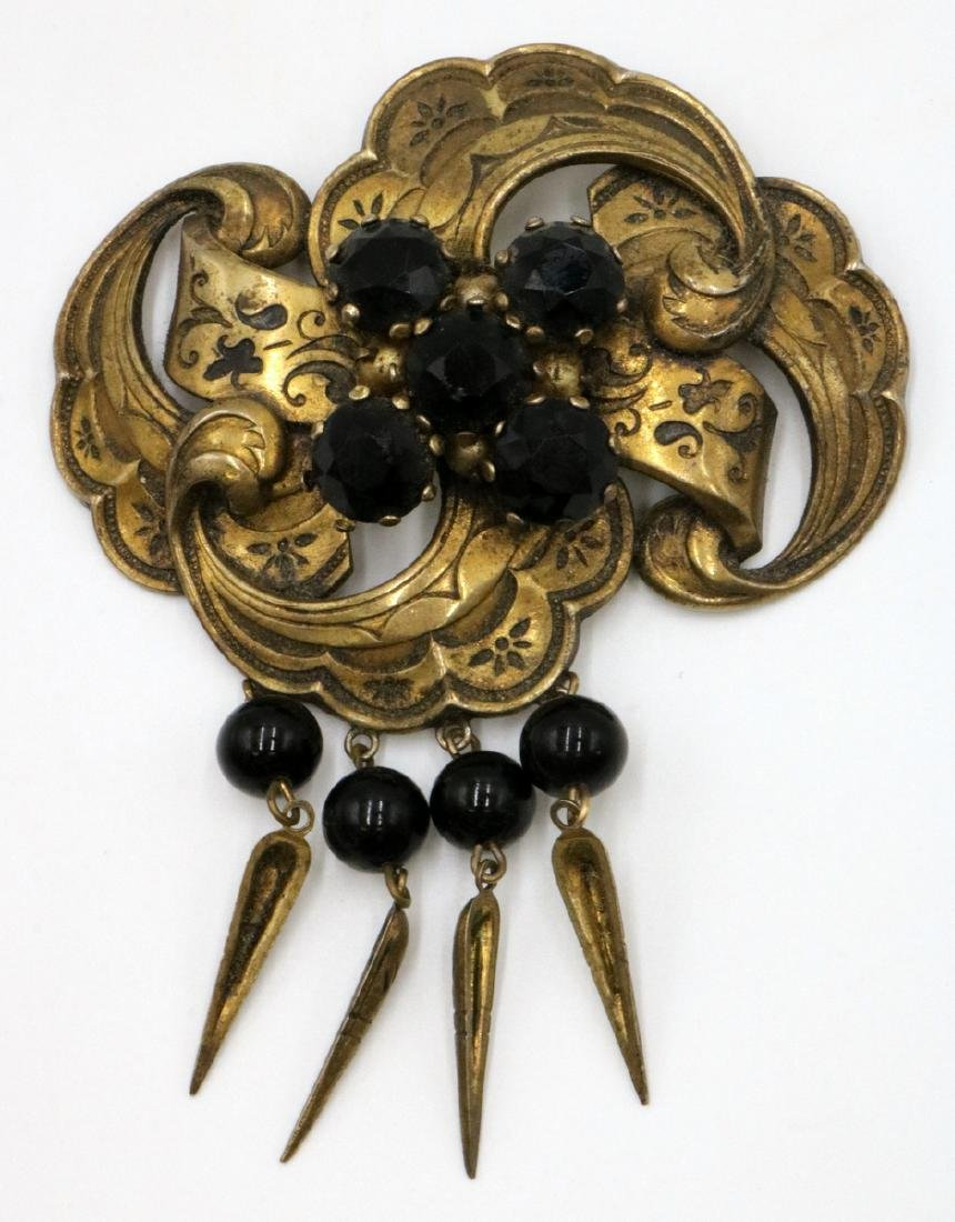 Late 19th C. Vermeil Sterling & Glass Brooch