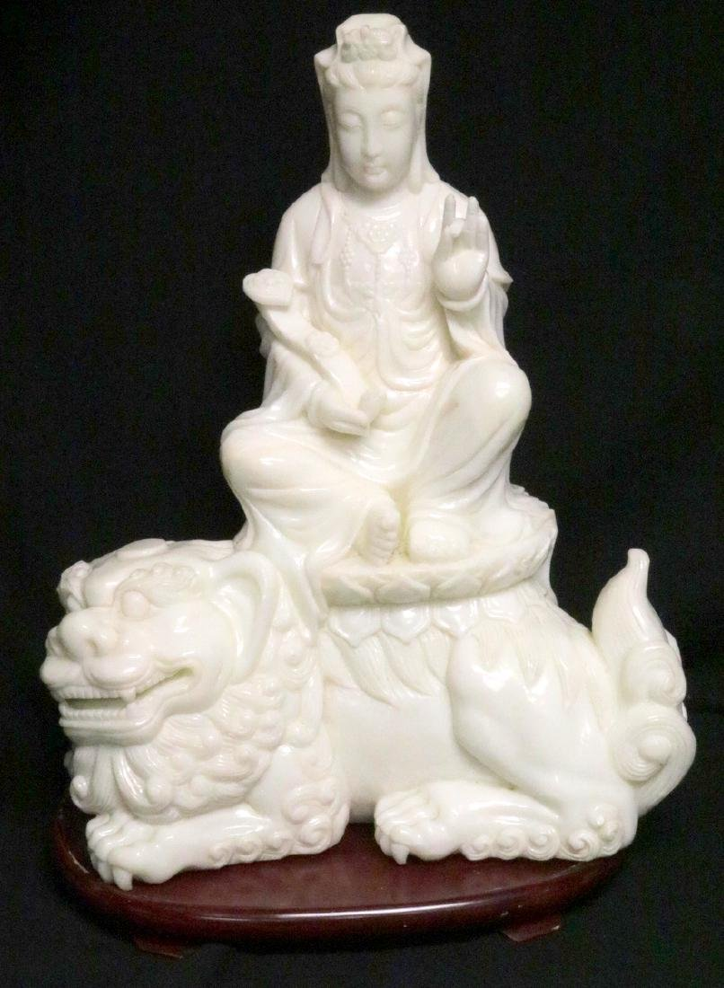 Rare Chinese Carved White Jade Quan Yin on Foo Dog