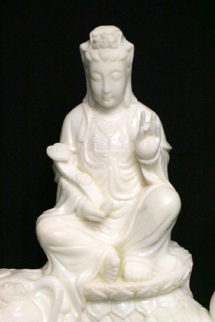 Rare Chinese Carved White Jade Quan Yin on Foo Dog - 2