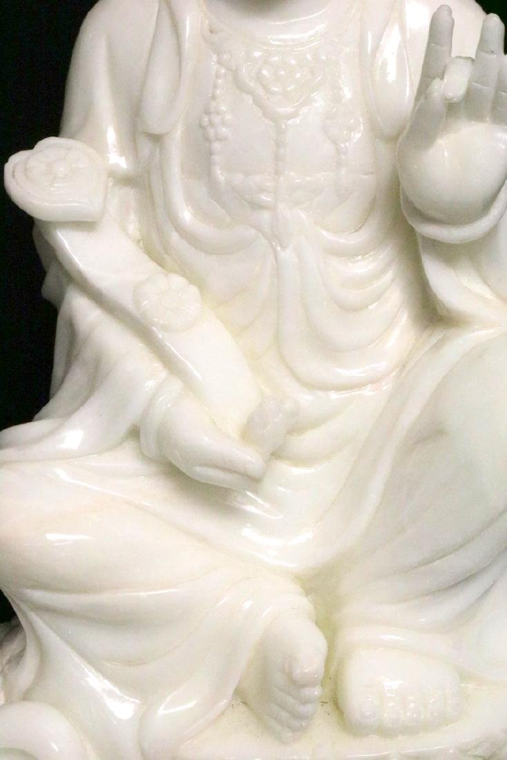 Rare Chinese Carved White Jade Quan Yin on Foo Dog - 5