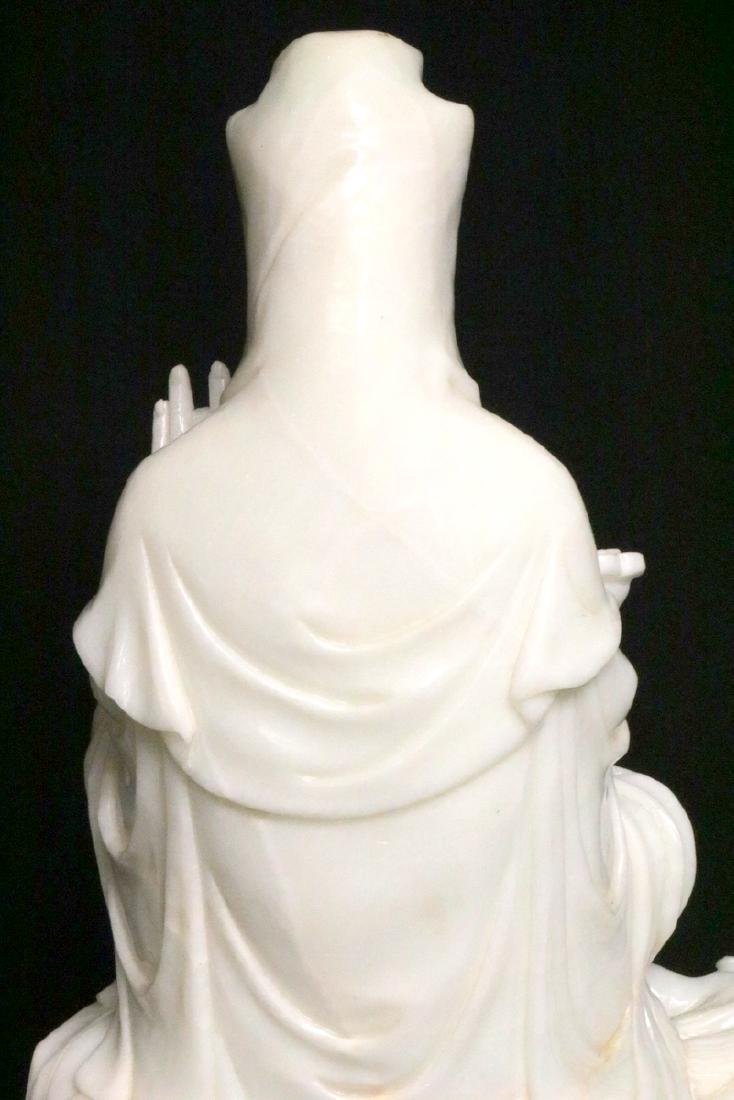 Rare Chinese Carved White Jade Quan Yin on Foo Dog - 9