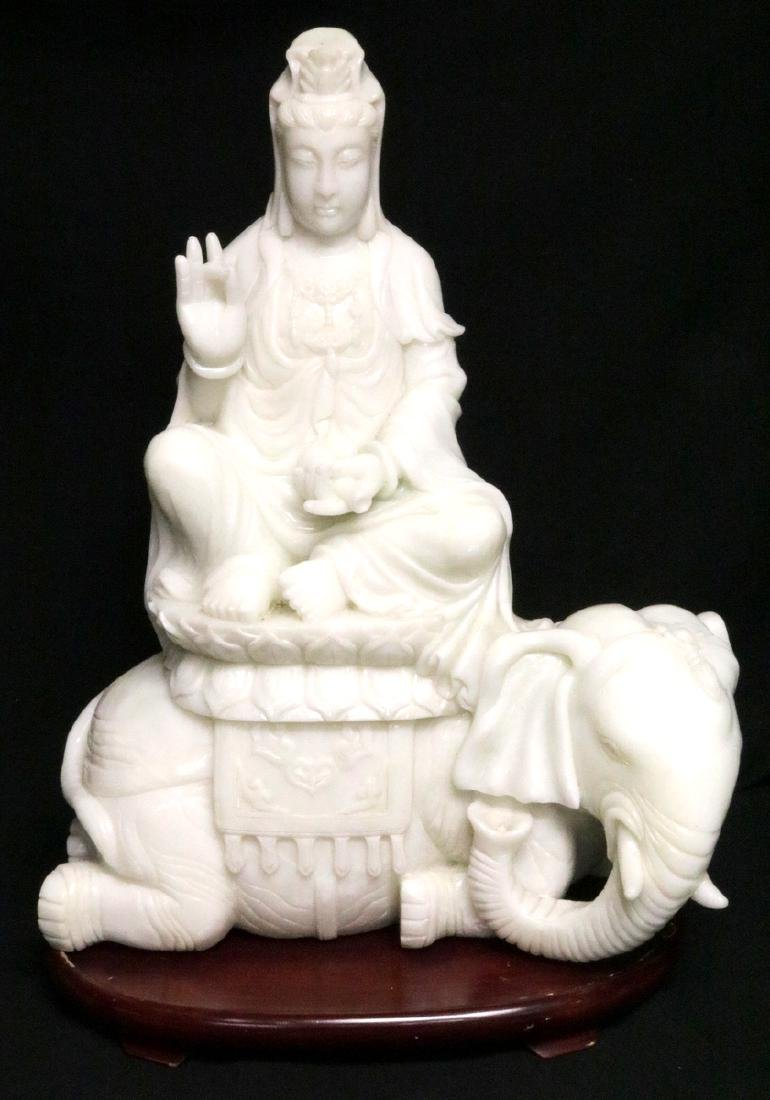 Rare Chinese Carved White Jade Quan Yin on Elephant