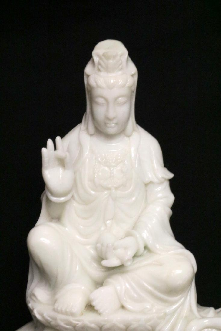 Rare Chinese Carved White Jade Quan Yin on Elephant - 2