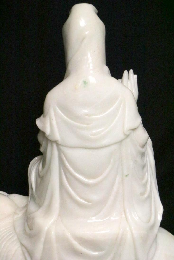 Rare Chinese Carved White Jade Quan Yin on Elephant - 8