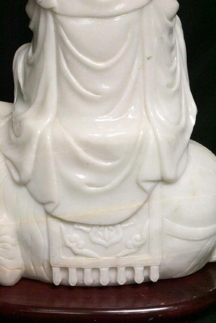 Rare Chinese Carved White Jade Quan Yin on Elephant - 9