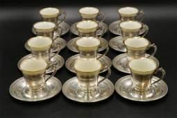 12 Pc Antique Gorham Sterling  Porcelain DemiTasse