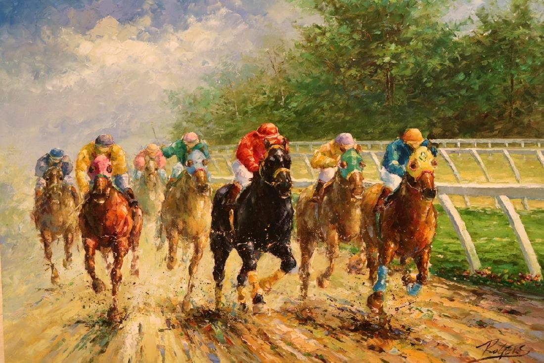 Signed Rogers Horse Racing Oil on Canvas