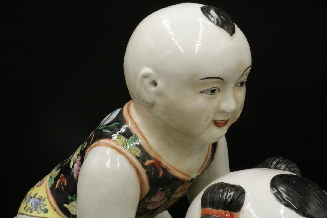 Vintage Chinese Hand Painted Porcelain Babies - 2