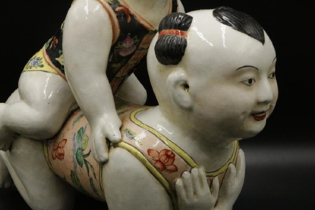 Vintage Chinese Hand Painted Porcelain Babies - 3