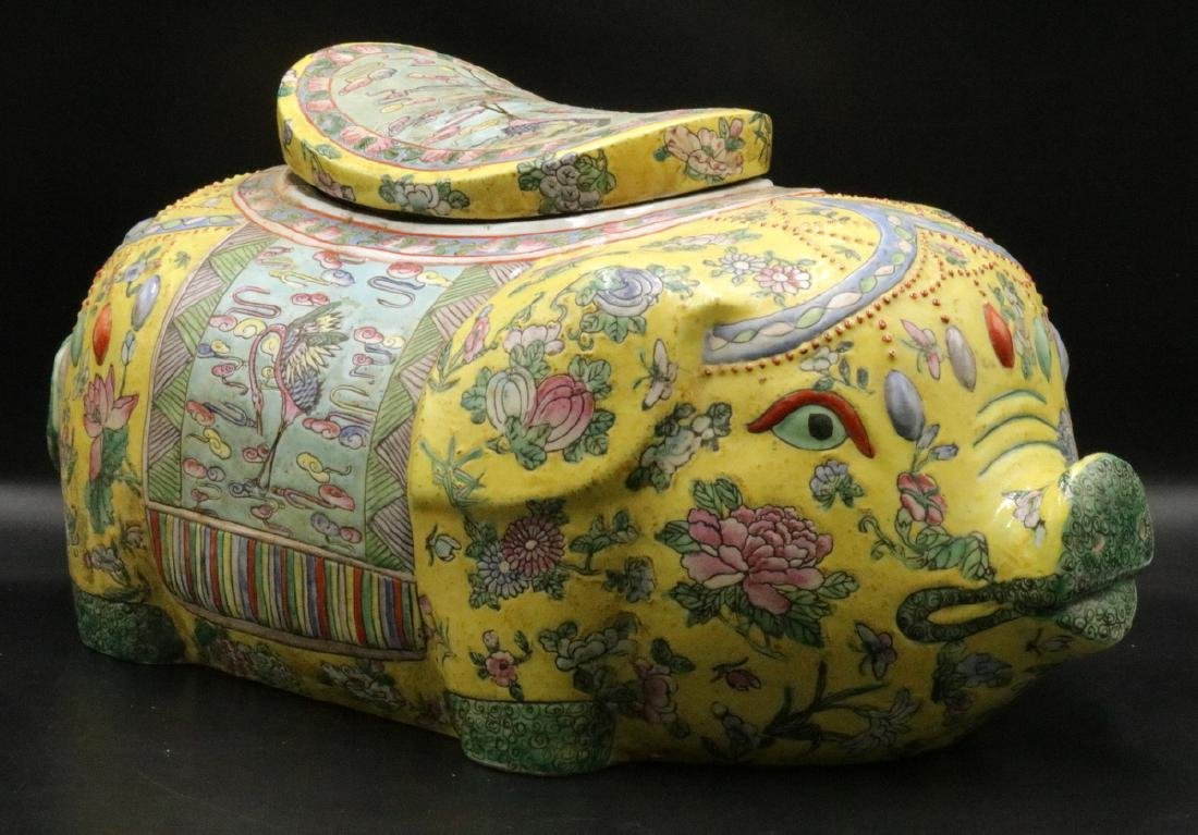 Vintage Chinese Hand Painted Porcelain Pig