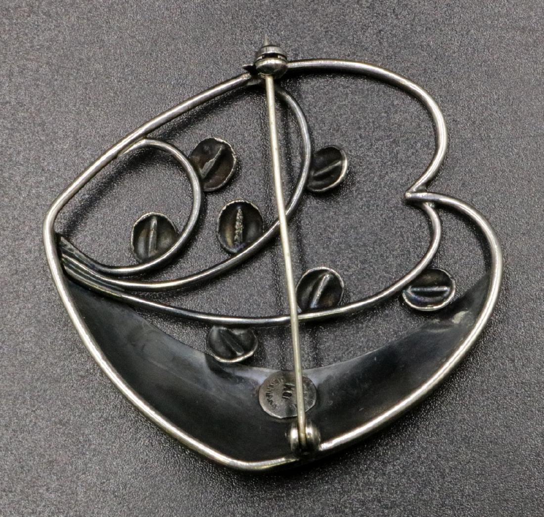 Hugo Grun Denmark Vintage Sterling Brooch - 2