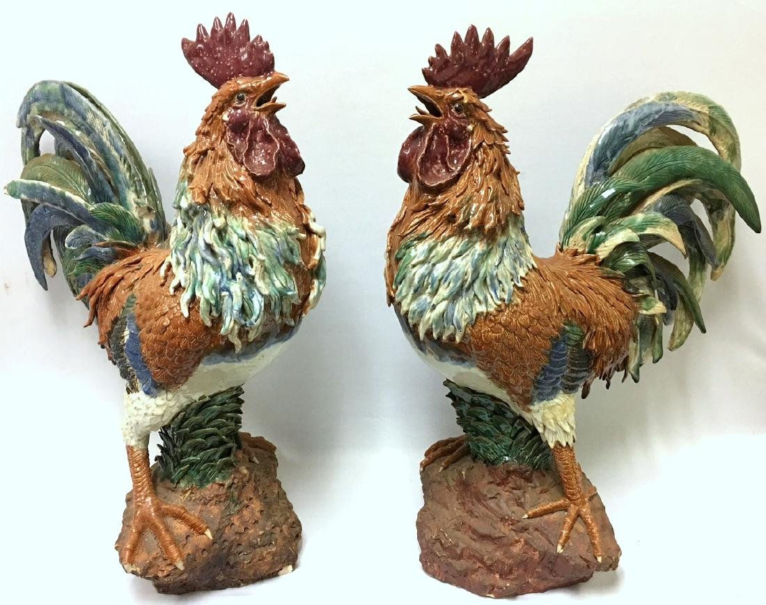 19th C. Majolica Hand Painted Terracotta Roosters