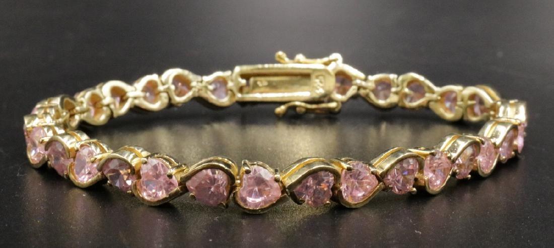 Vermeil Sterling Silver Pink Heart Stone Bracelet