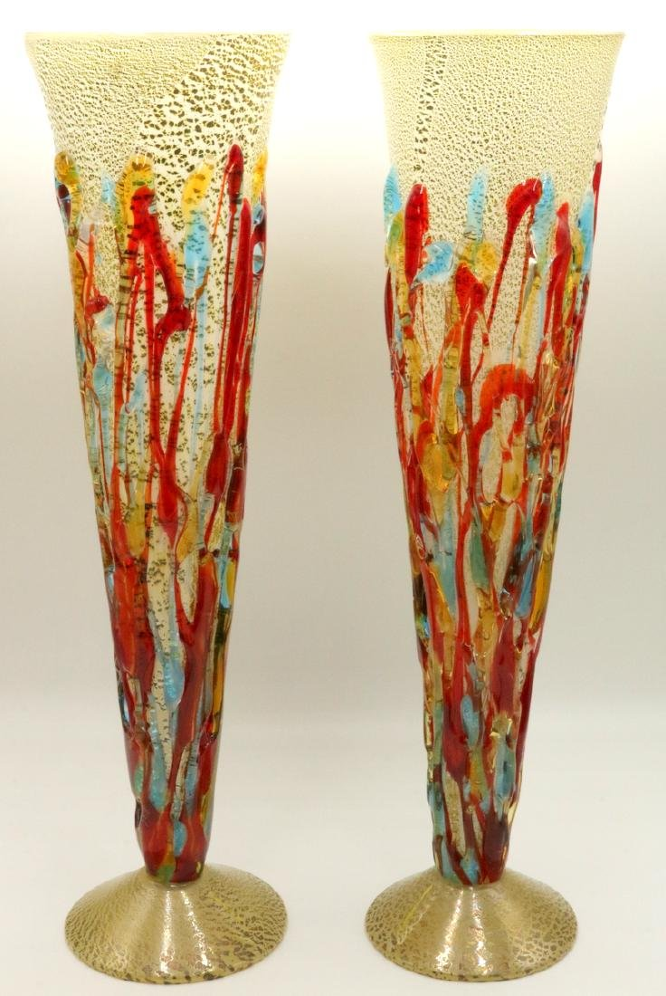 Pair of Vetri Artistico Italian Murano Art Glass Vases