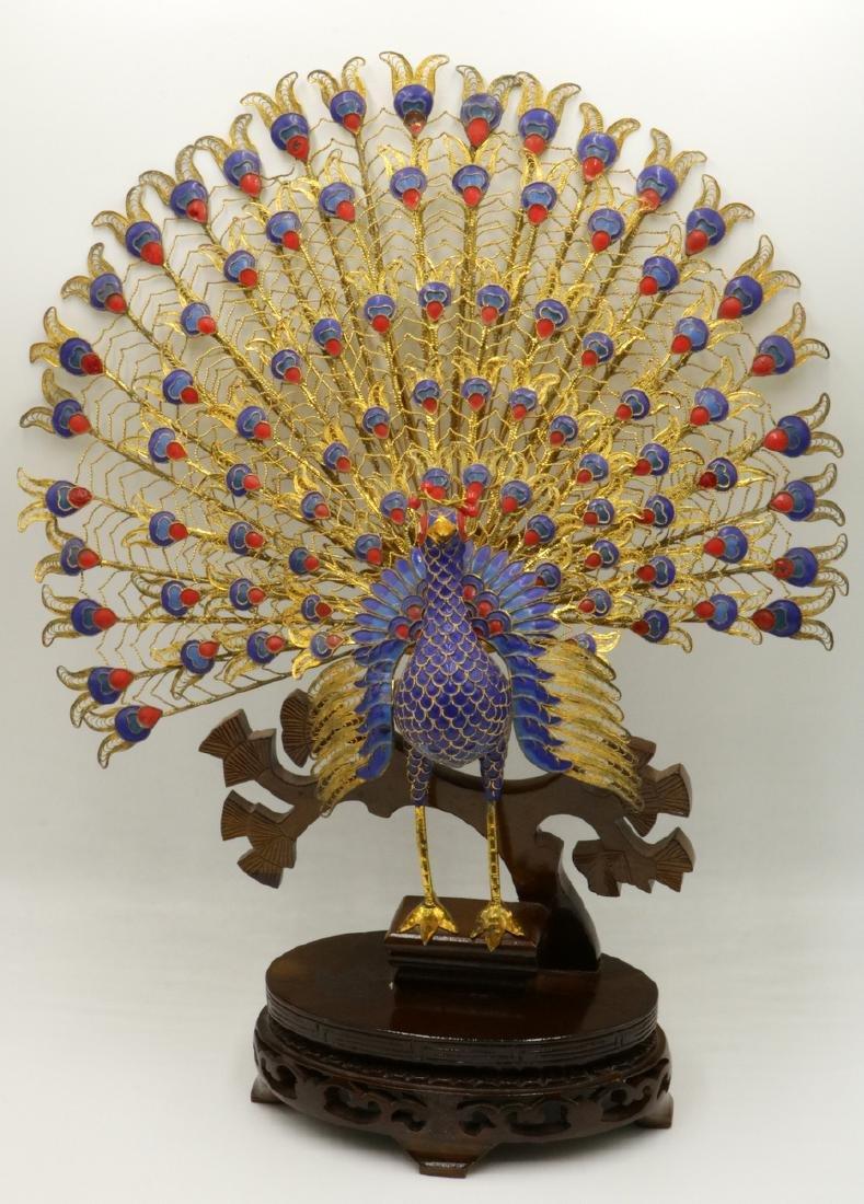 Large Chinese Gilt & Cloisonne Enamel Peacock Sculpture
