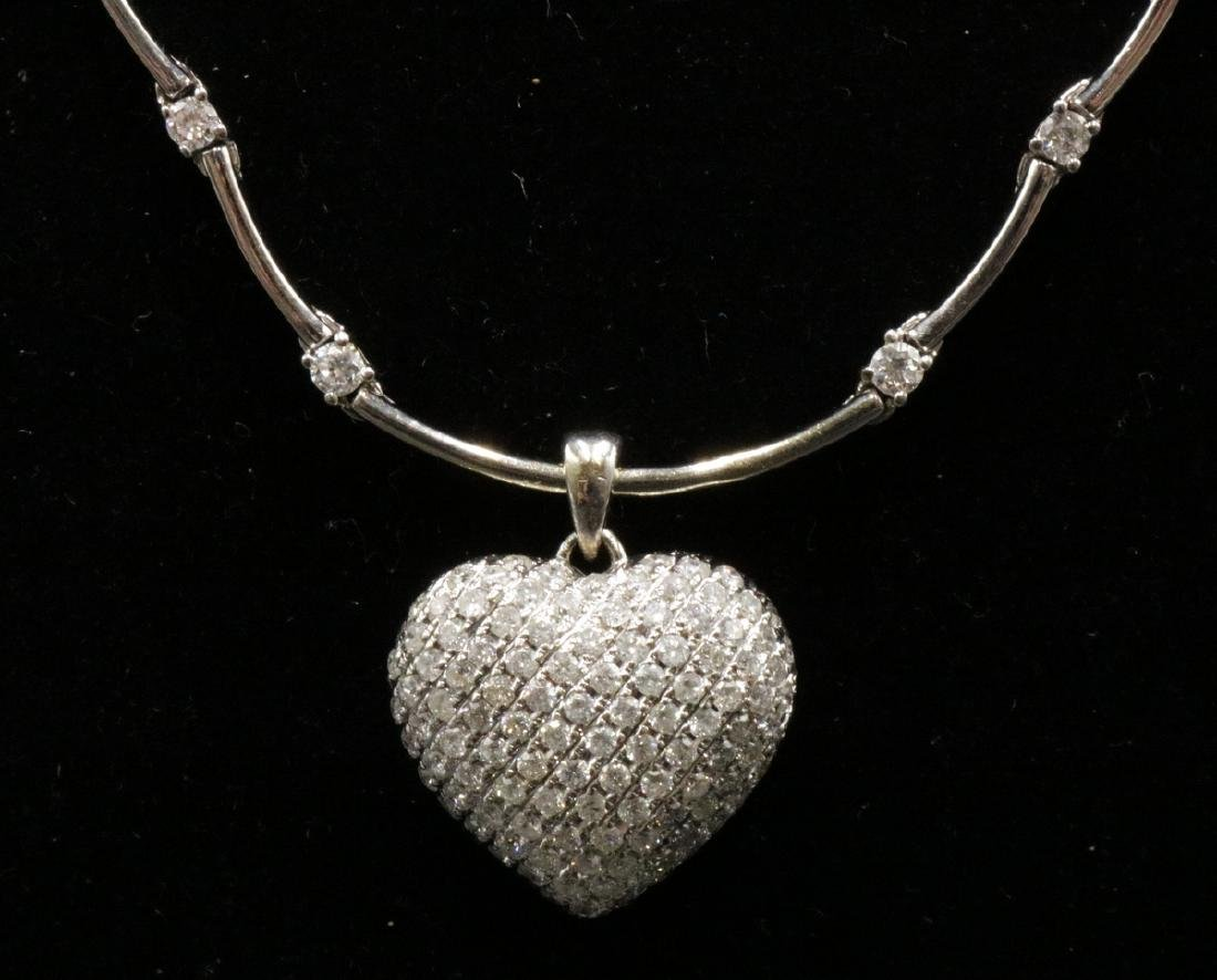 14Kt WG Diamond Heart Pendant & Necklace