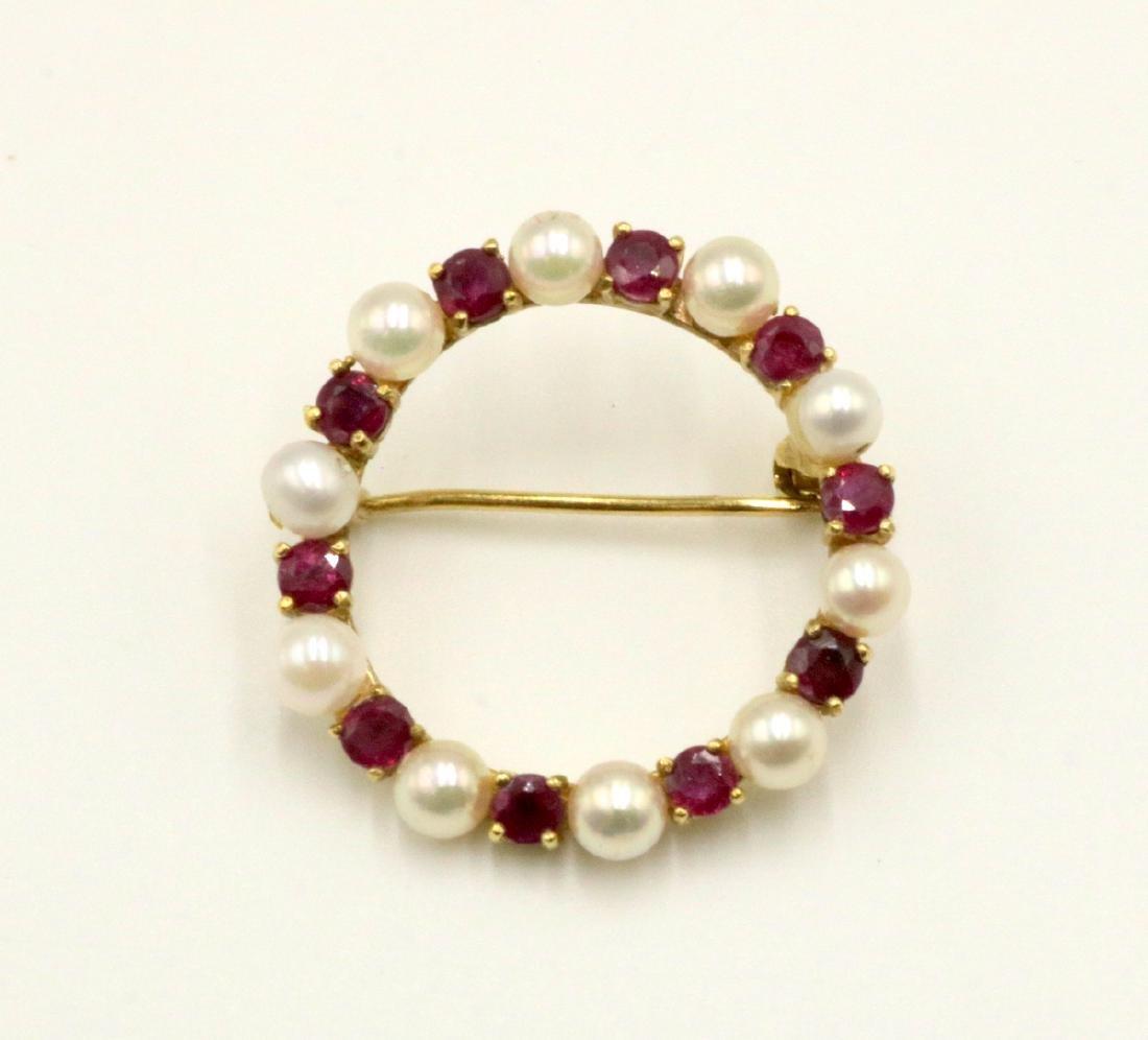 14Kt YG Pearl & Ruby Pin