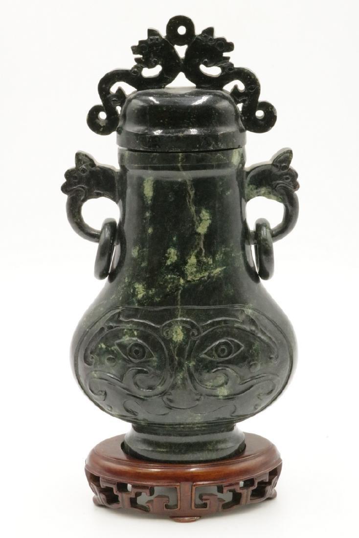 Chinese Spinach Green Jade Urn