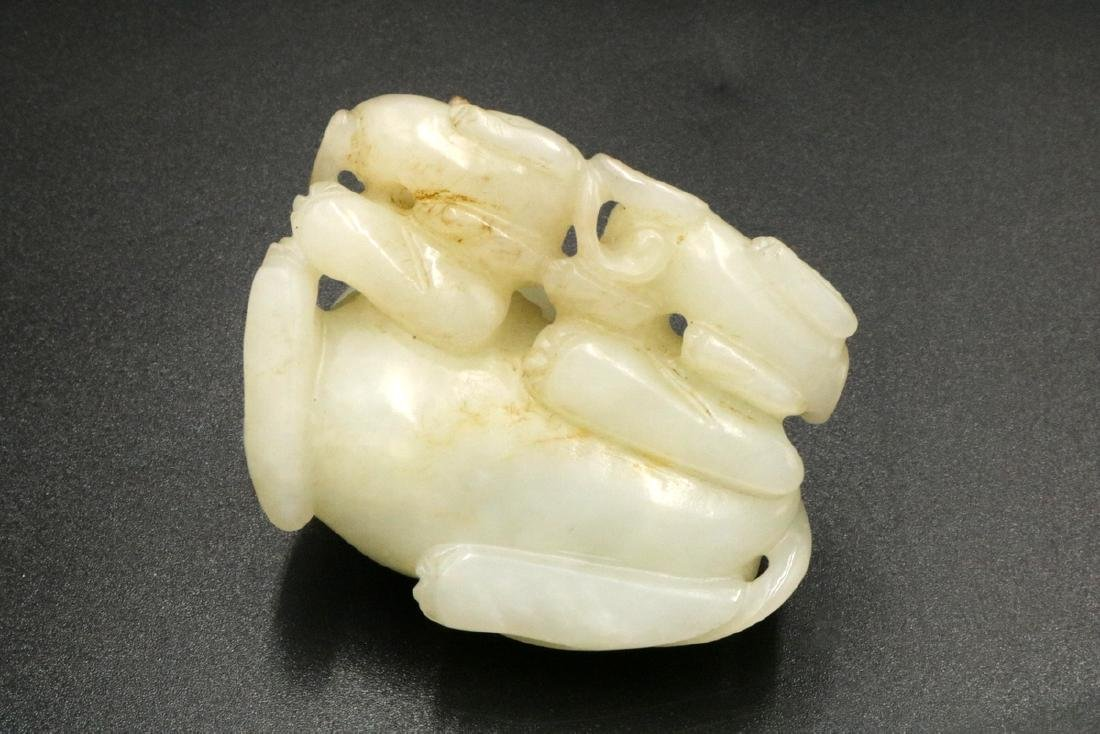 Chinese Carved White Jade Foo Dog Group - 3