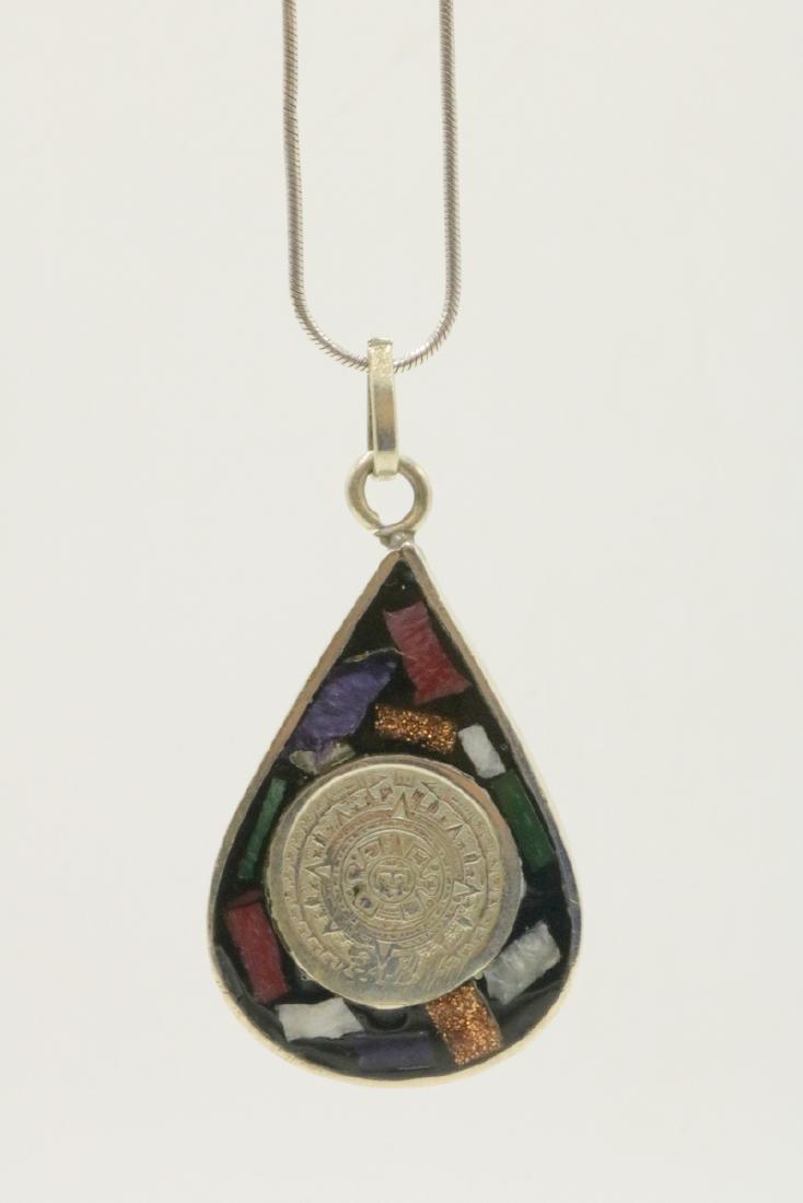 Mexican Sterling & Semi-Precious Stone Pendant