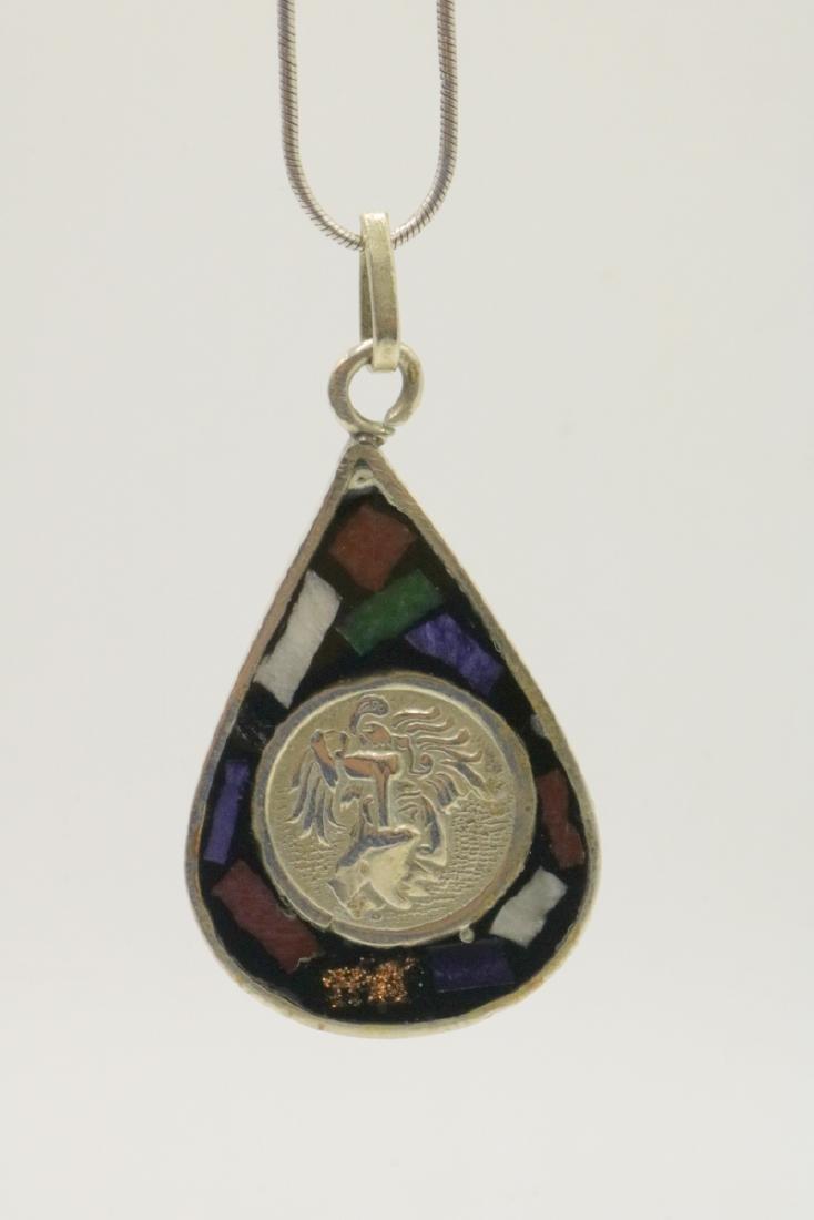 Mexican Sterling & Semi-Precious Stone Pendant - 2