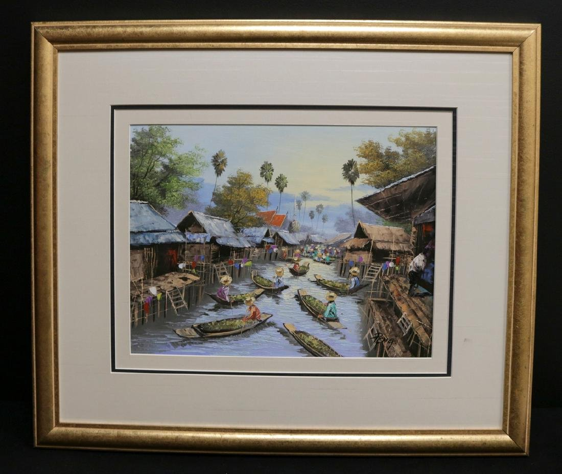 Signed Peng Oil Painting on Board - 2