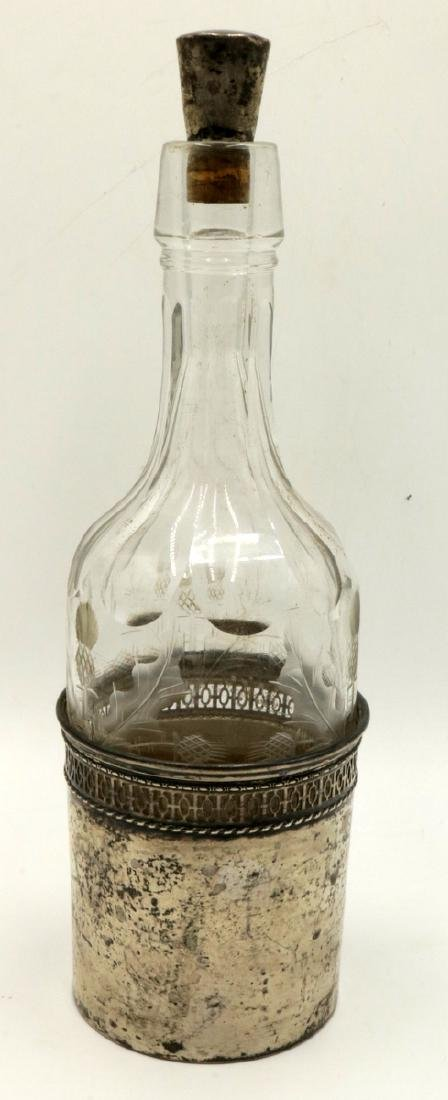 Late 19th C. Sterling & Cut Glass Decanter